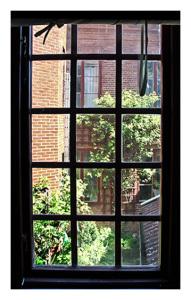 Vy från fönster mot en bakgård